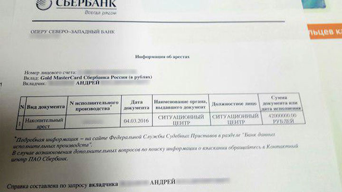 Информация об арестах в банке