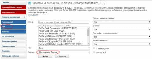 Фонды ETF на Московской бирже